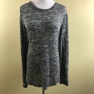 J open back tri blend sheer sweater long sleeve